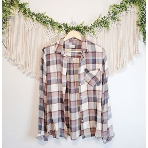 ALTAR'D STATE Colorful Plaid Checekred Collared Button Down Long Sleeve Shirt